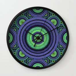 Back to 70's, blue & green Wall Clock