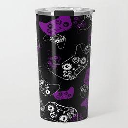 Video Game Purple on Black Travel Mug