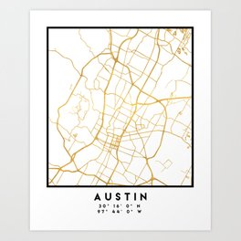 AUSTIN TEXAS CITY STREET MAP ART Art Print