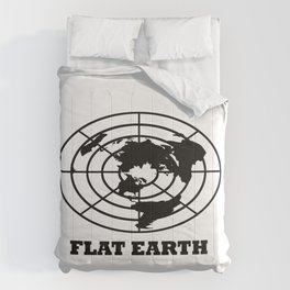 Flat Earth (Black) Comforters