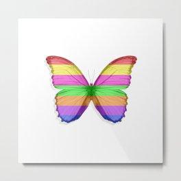 Rainbow Morpho Butterfly on White Metal Print