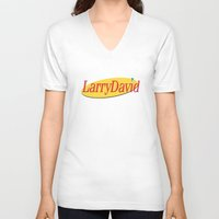 seinfeld V-neck T-shirts featuring Larry David - Seinfeld by Uhm.