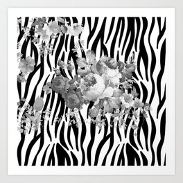 Vintage elegant black white floral zebra animal print collage Art Print