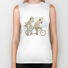 Two men riding on a tandem bicycle Biker Tank