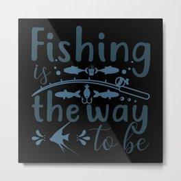 Anglers fish for a fish on the lake Metal Print