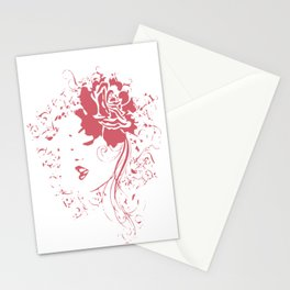 Vintage Girl With Flowers Stationery Cards