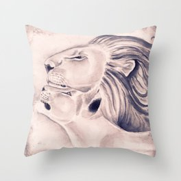 Two Lions Vintage Style Throw Pillow