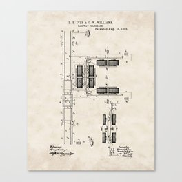 Railway Telegraph Vintage Patent Hand Drawing Canvas Print