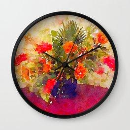 Flowers on desk Wall Clock