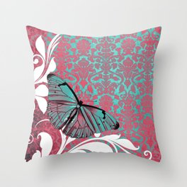 Vibrant Damask Butterfly Throw Pillow
