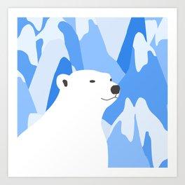 Polar Bear In The Cold Design Art Print