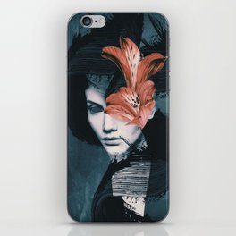 Red Flowers/Lady Portrait iPhone Skin
