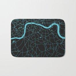 Black on Turquoise London Street Map Bath Mat