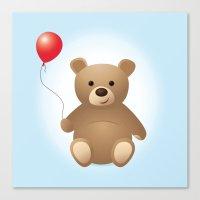 teddy bear Canvas Prints featuring Teddy by Kris Paludan