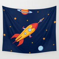spaceship Wall Tapestries featuring Spaceship! by Doodle Dojo