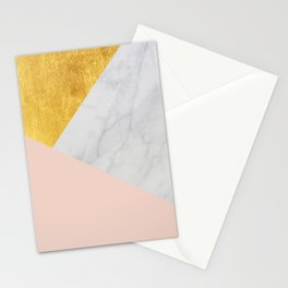 Carrara Marble with Gold and Pantone Pale Dogwood Color Stationery Cards