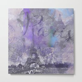 Purple Paris Watercolor Art Metal Print