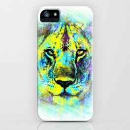 The proud face of a wild lioness. Digital artwork. iPhone Case