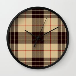 Tan Tartan with Black and Red Stripes Wall Clock