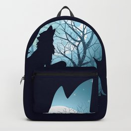 Blue moon and wolf howling Backpack