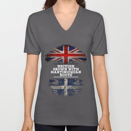 British Grown With Martinicquan Roots Unisex V-Neck