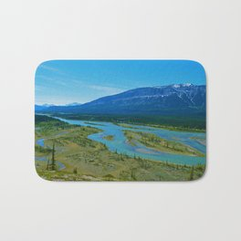 Looking over the Athabasca River on the east end of Jasper National Park, Canada Bath Mat