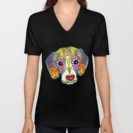 Beagle - Day of the Dead Sugar Skull Dog Unisex V-Neck