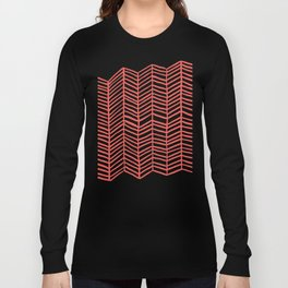 Coral Herringbone Long Sleeve T-shirt