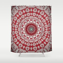 Red White Bohemian Mandala Design Shower Curtain