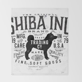 Shiba Inu Trading Company vintage style typography graphic artwork by Stephen Fowler Throw Blanket