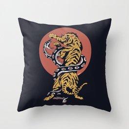 Classic Tattoo Snake vs Tiger Throw Pillow