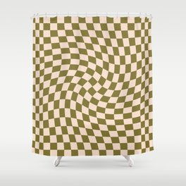 Check VI - Green Twist — Checkerboard Print Shower Curtain