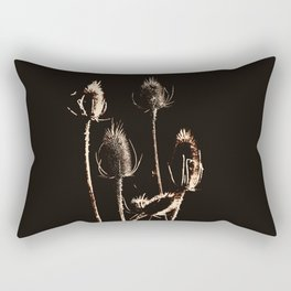 Brown Cream Teasels Graphic Dried Plants Rectangular Pillow
