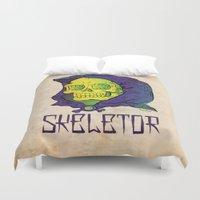 skeletor Duvet Covers featuring Old School Skeletor by Miguel Manrique