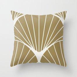 Diamond Series Round Sun Burst White on Gold Throw Pillow