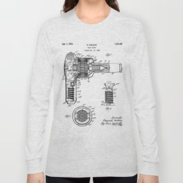 Hair Drier Patent - Salon Art - Black And White Long Sleeve T-shirt