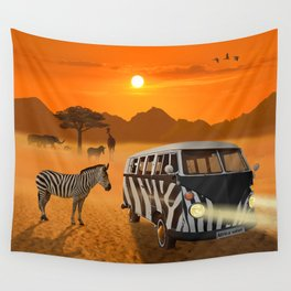 Africa Safari and stripes meeting Wall Tapestry