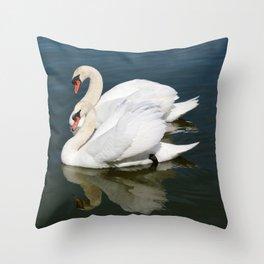 Synchronized Swans Throw Pillow