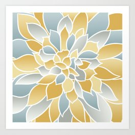Floral Modern Art Print, Yellow, Aqua and Gray, Floral Prints Art Print