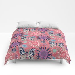 Butterfly Paisley Pink Pink Comforters