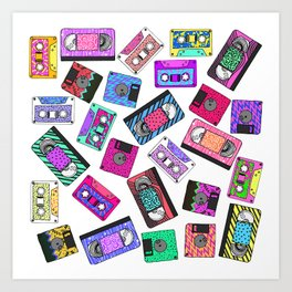 Retro 80's 90's Neon Patterned Cassette Tapes Art Print