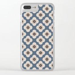 Starburst Floral, Slate Blue background Clear iPhone Case