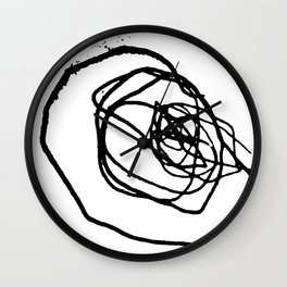 Minimalist abstract flower scribble artwork drawn by a child Wall Clock