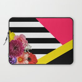 Geometric Shapes With Flowers & Stripes Laptop Sleeve