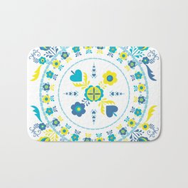 Folk Flowers in Yellow and Turquoise Bath Mat