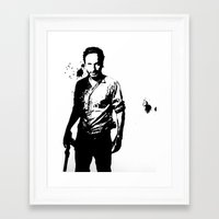 rick grimes Framed Art Prints featuring Rick Grimes by Black And White Store