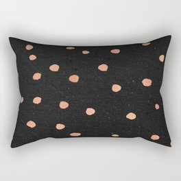 Rose Gold Dots on Black Pattern Rectangular Pillow