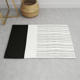 Black and White Stripe Color Block Design Rug
