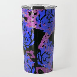 Bright Blue Damask Travel Mug
