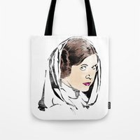 princess leia Tote Bags featuring Leia by Hey!Roger